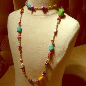Stone bead colorful necklace